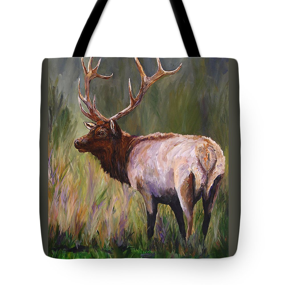 Elk Wildlife Art Tote Bag featuring the painting Whapiti - ELK Now Avaliable by Mary Jo Zorad