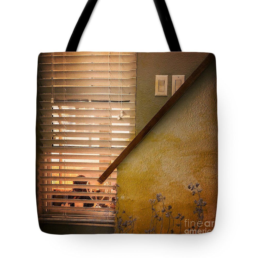 Stairwell Tote Bag featuring the photograph What She Does by Eddy Mann