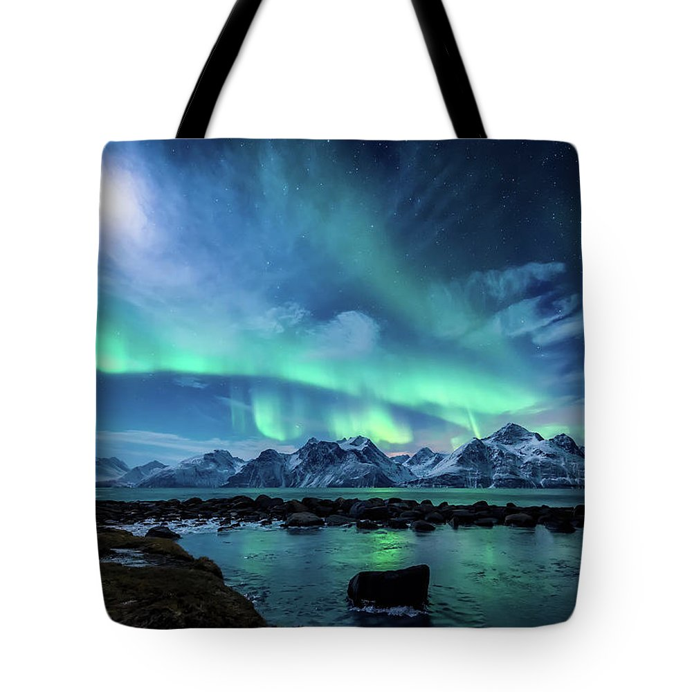 Moon Tote Bag featuring the photograph When the moon shines by Tor-Ivar Naess