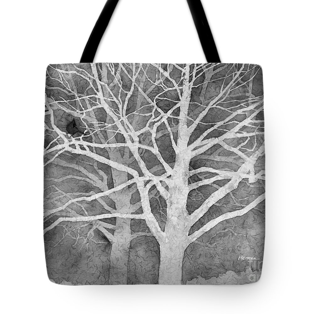 Ardinal Tote Bag featuring the painting Whisper in Black and White by Hailey E Herrera
