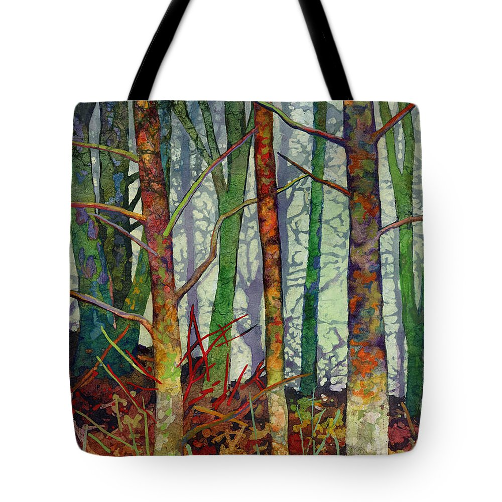 Abstract Forest Tote Bag featuring the painting Whispering Forest by Hailey E Herrera
