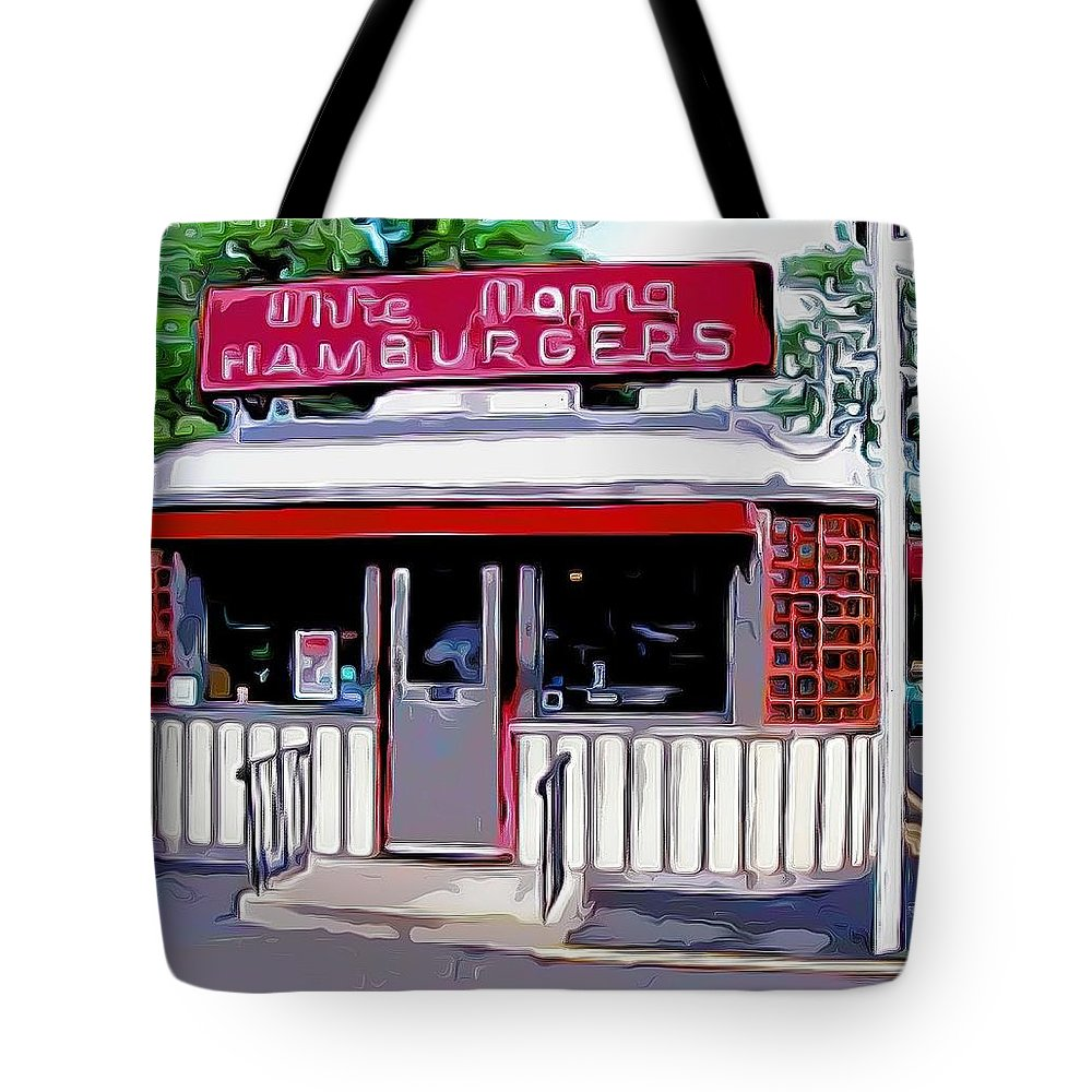 White Manna Burgers Tote Bag featuring the mixed media White Manna Burgers by Bellino