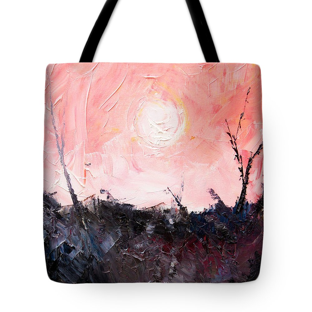 Duck Tote Bag featuring the painting White Sun by Sergey Bezhinets