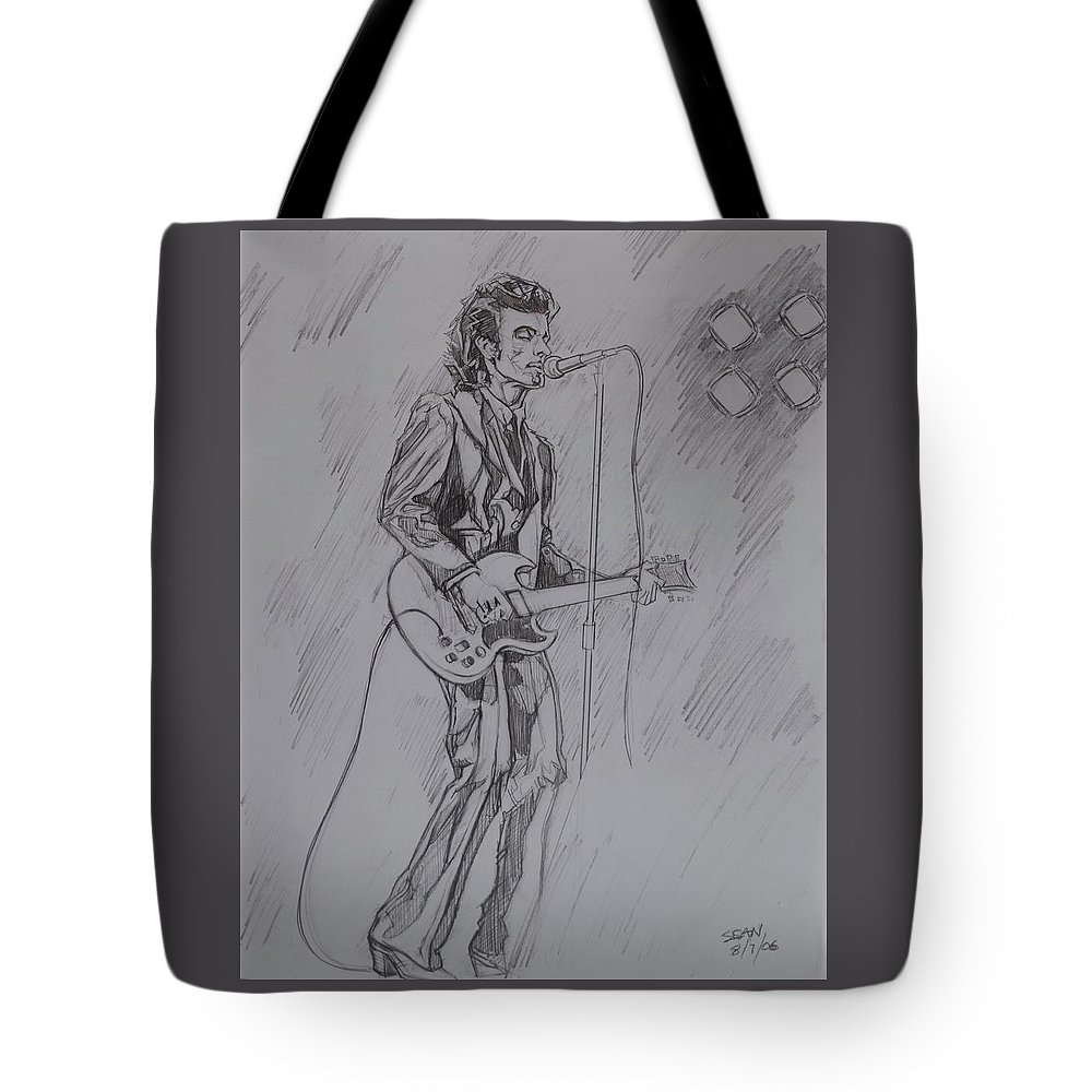 Pencil Tote Bag featuring the drawing Willy DeVille - Steady Drivin' Man by Sean Connolly