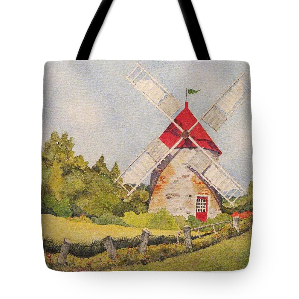 Windmills Tote Bag featuring the painting Windmill on Ile aux Coudres Quebec by Mary Ellen Mueller Legault
