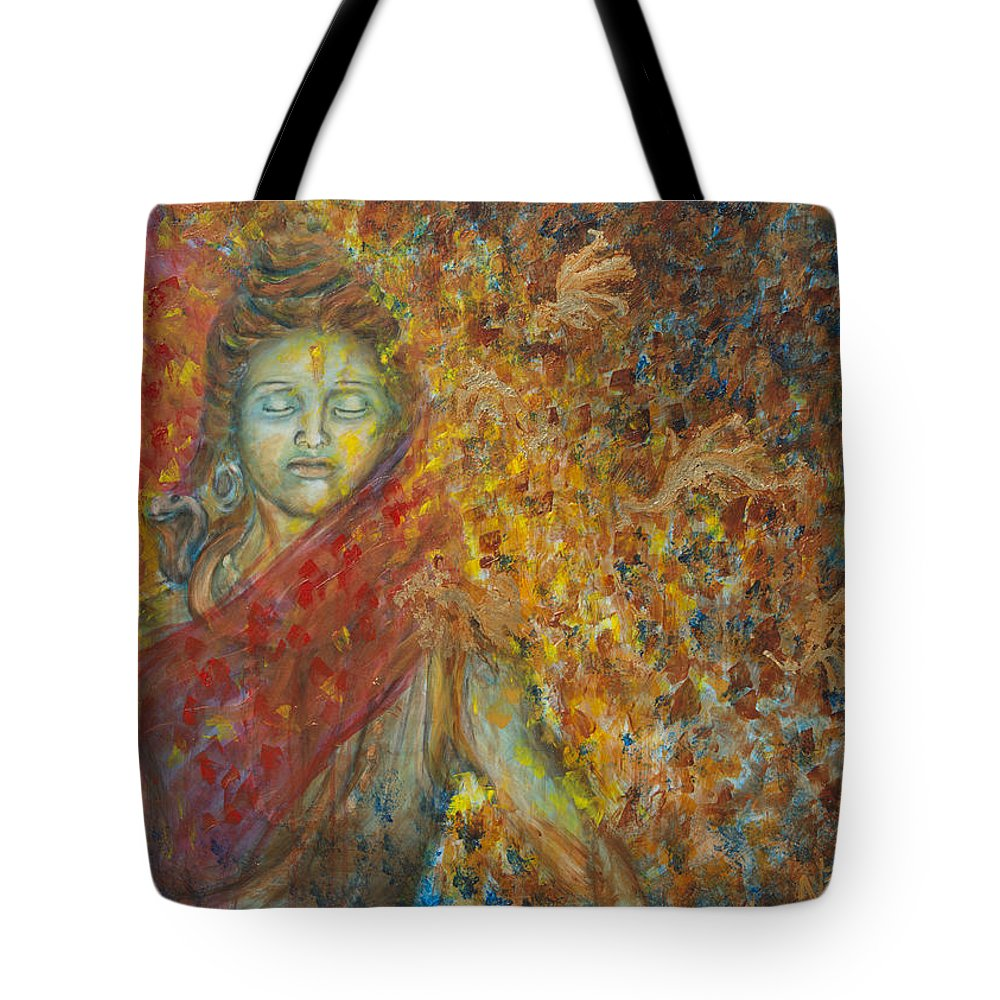 Shiva Tote Bag featuring the painting Winds Of Change by Nik Helbig
