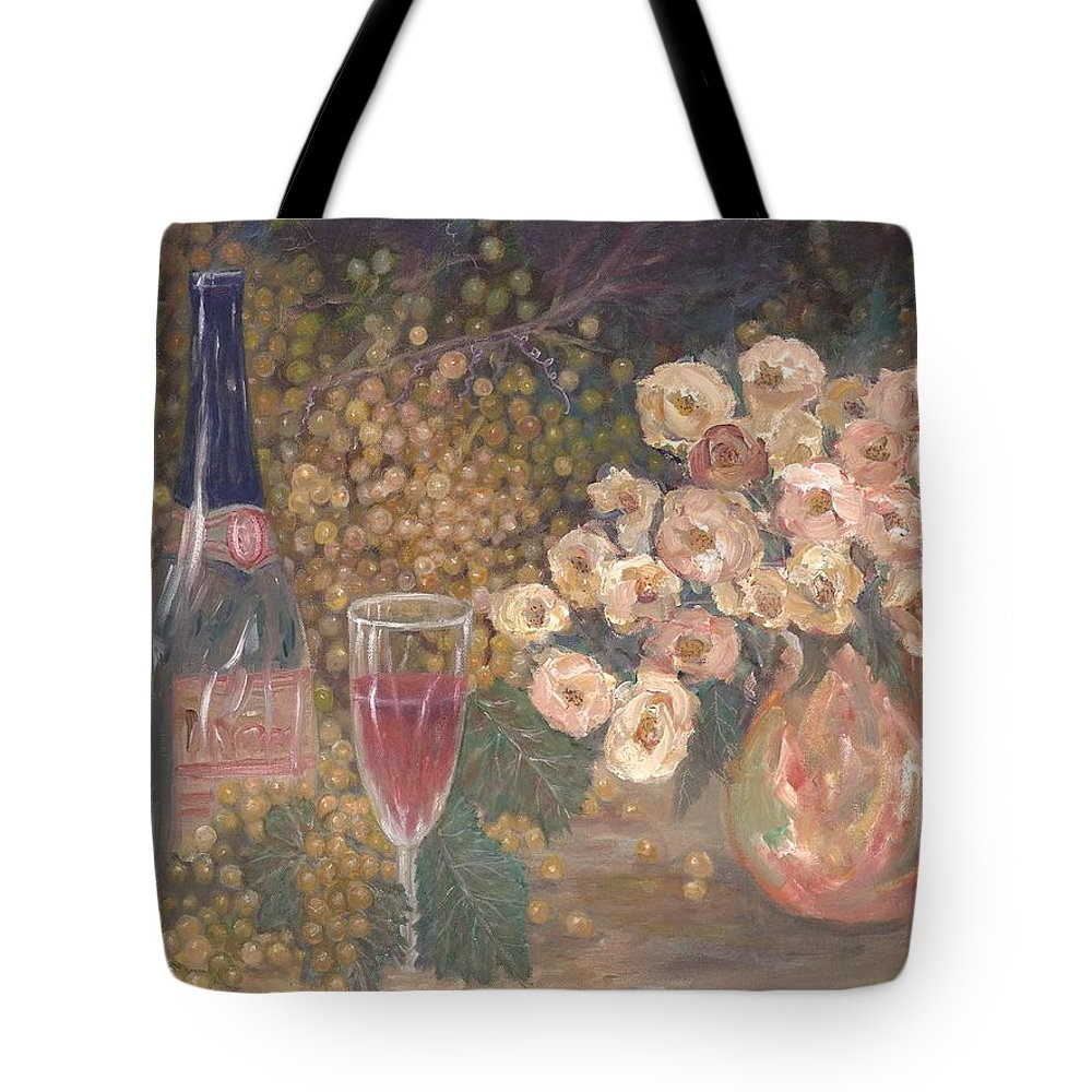 Stilllife; Floral; Wine Tote Bag featuring the painting Wine And Roses by Ben Kiger