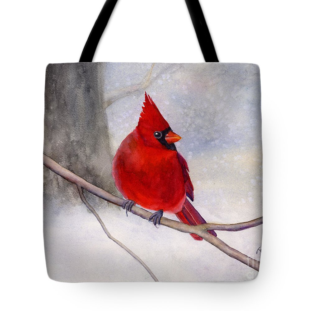 Cardinal Tote Bag featuring the painting Winter Cardinal by Hailey E Herrera