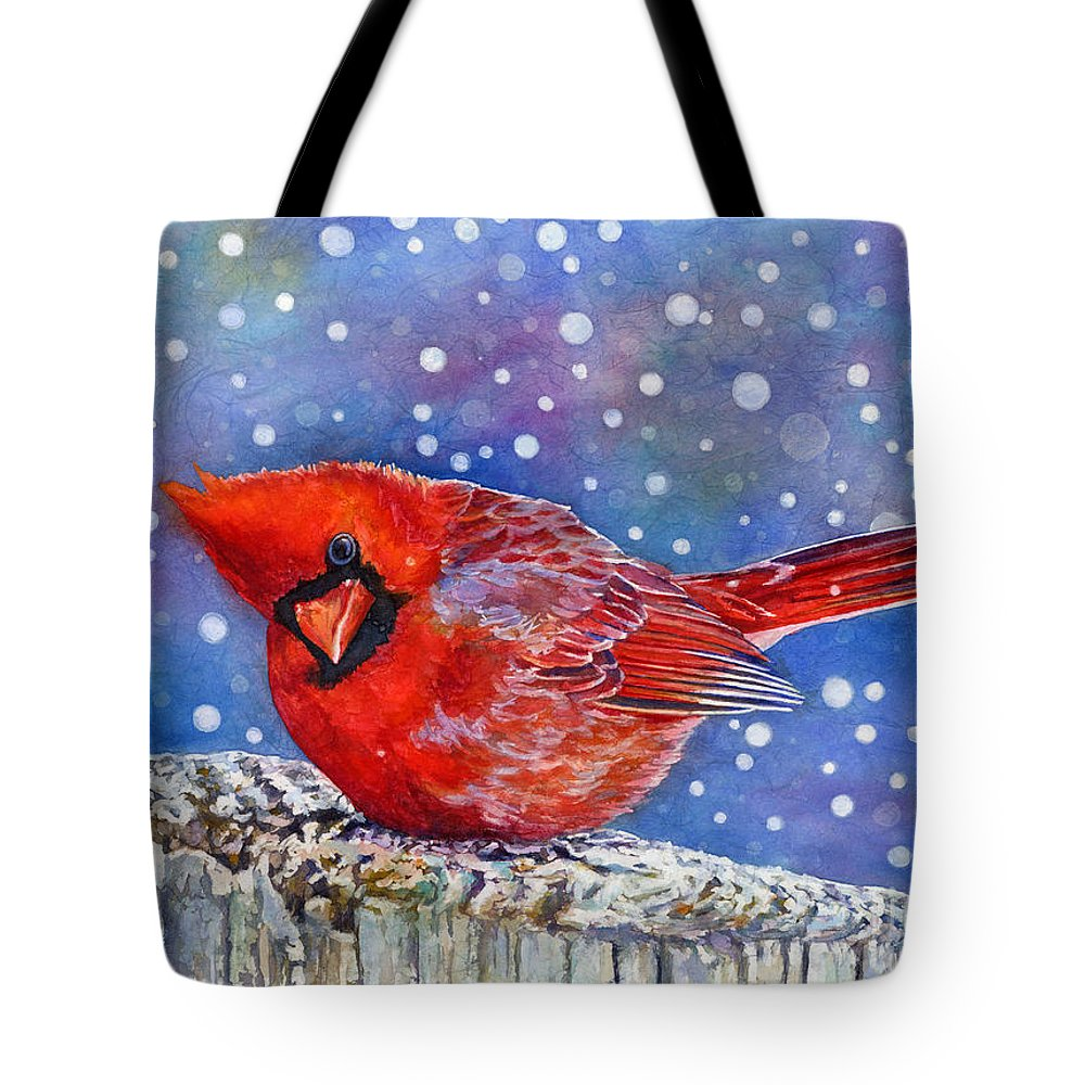Red Cardinal Tote Bag featuring the painting Winter Quietude by Hailey E Herrera