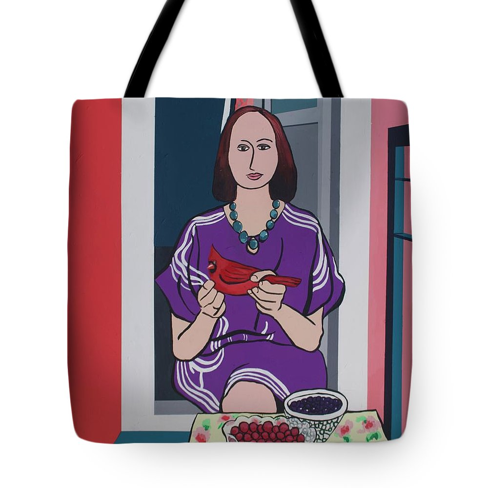 Bird Tote Bag featuring the painting Woman, Bird, and Berries - A Tribute to Henri Matisse by Rollin Kocsis