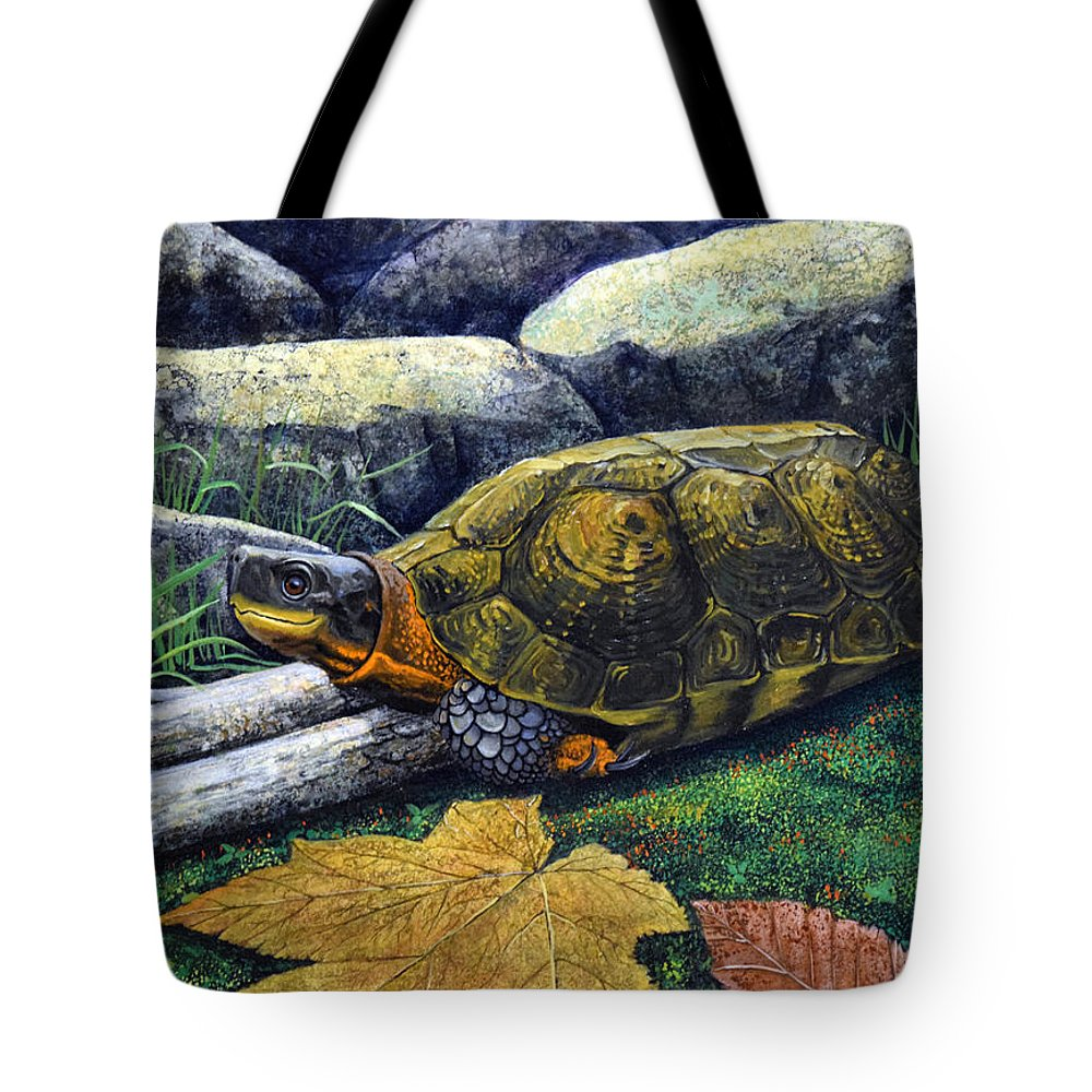 Turtles Tote Bag featuring the painting Wood Turtle by Frank Wilson