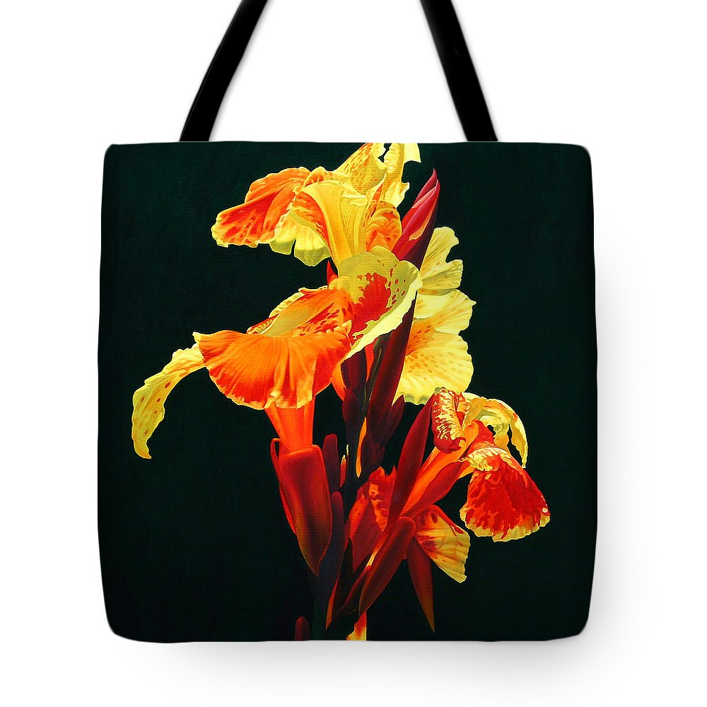 Flowers Tote Bag featuring the painting Yellow Cannas by Gary Hernandez