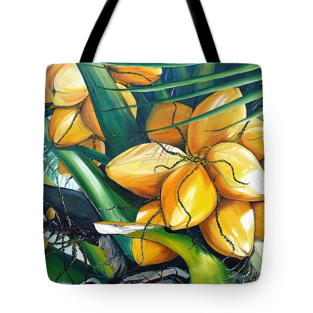 Coconut Painting Botanical Painting  Tropical Painting Caribbean Painting Original Painting Of Yellow Coconuts On The Palm Tree Tote Bag featuring the painting Yellow Coconuts by Karin Dawn Kelshall- Best