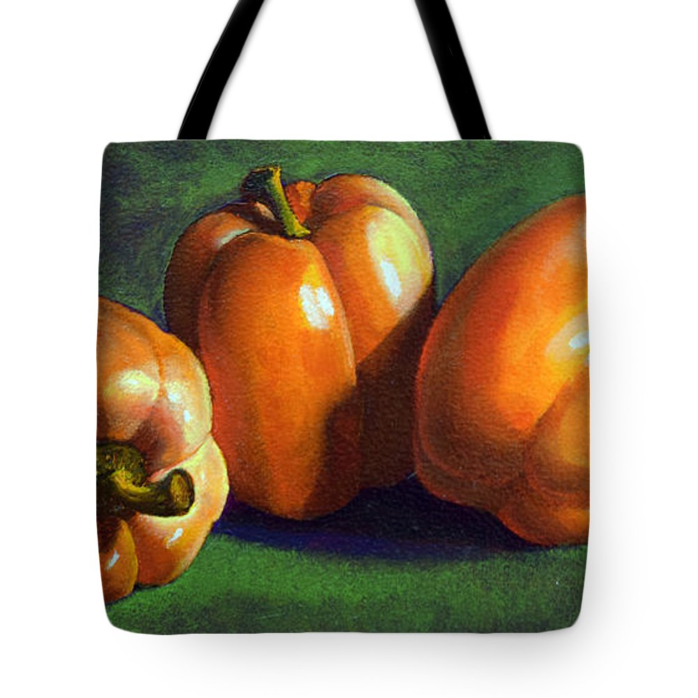 Yellow Peppers Tote Bag featuring the painting Yellow Peppers by Frank Wilson