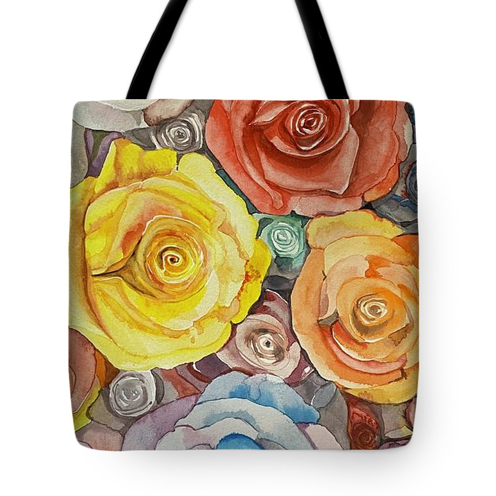 Yellow Tote Bag featuring the painting Yellow rose by Myungja Anna Koh