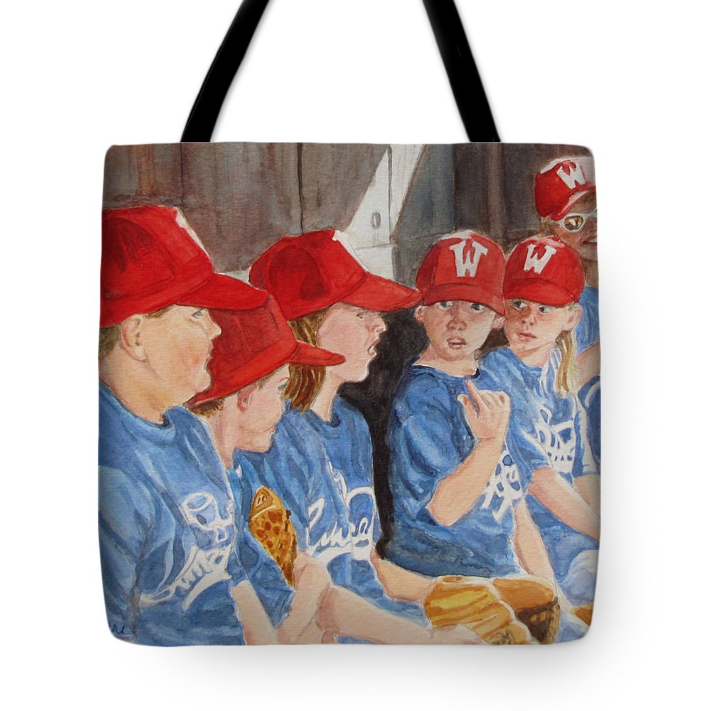 Kids Tote Bag featuring the painting Yer Up by Karen Ilari