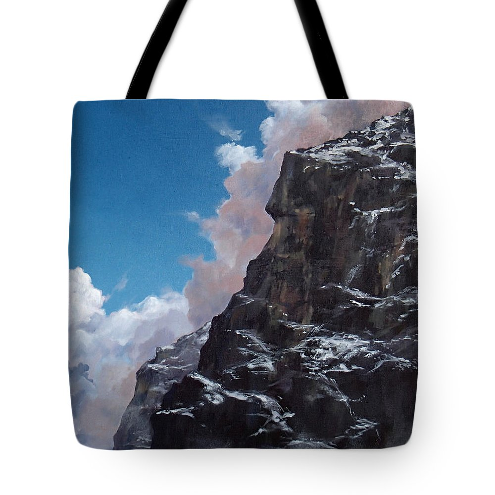 Yosemite Tote Bag featuring the painting Yosemite cliff face by Philip Fleischer