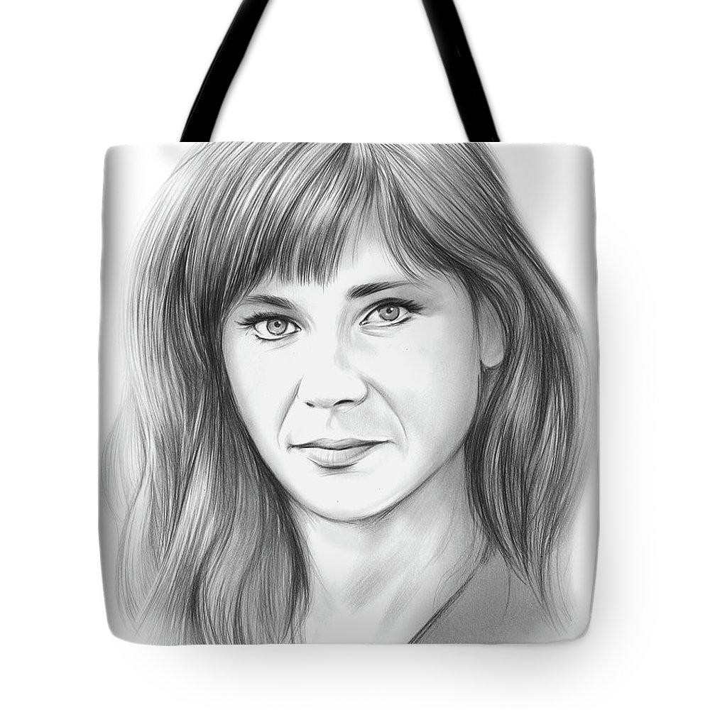 Pencil Sketch Tote Bag featuring the drawing Zooey by Greg Joens