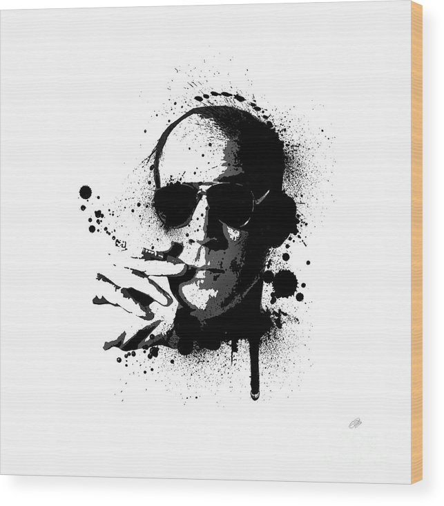 Hunter S. Thompson Wood Print featuring the painting Hunter S. Thompson by Laurence Adamson