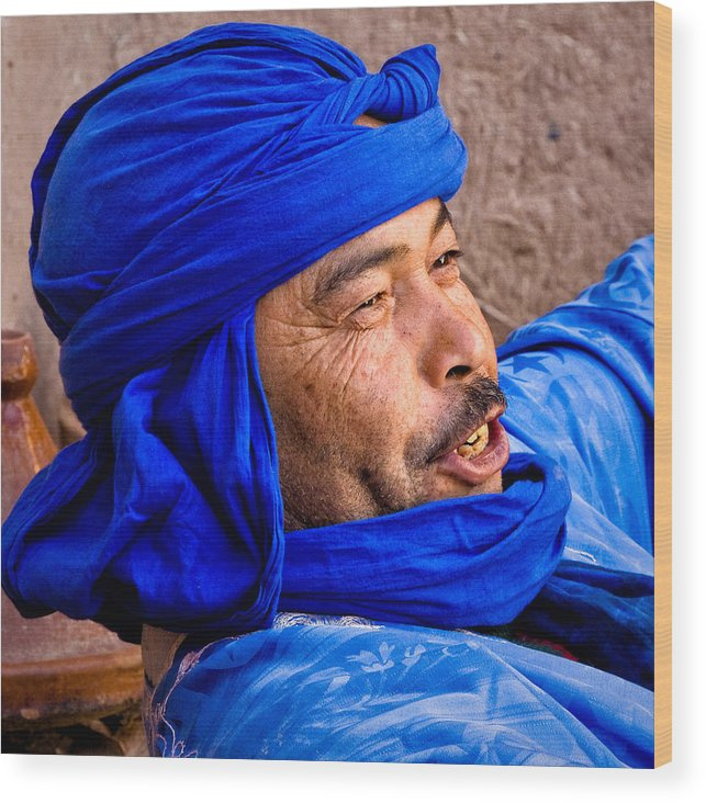 Morocco Wood Print featuring the photograph The Man In Blue by Stephanie Brand