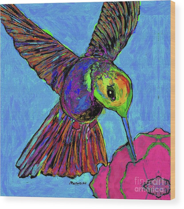 Hummingbird Wood Print featuring the painting Hummingbird On Blue by Dale Moses