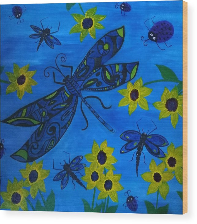 Wood Print featuring the painting Dragonfly by Ev Frey
