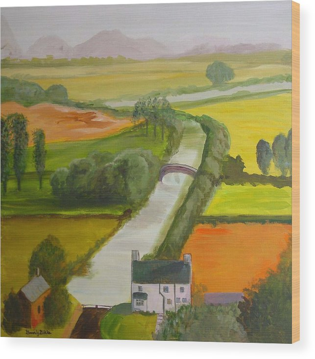 Landscape Wood Print featuring the painting English Canal by Blake Originals - Marjorie and Beverly