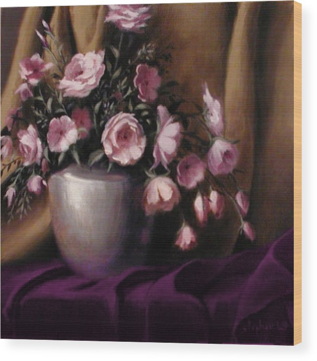 Flowers Wood Print featuring the painting Lavander And Pink Flowers In Silver Vase by Stephen Lucas