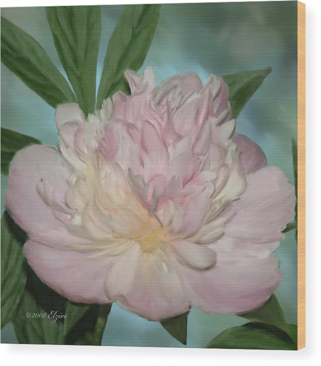 Pink Peony Wood Print featuring the painting Pink Peony by Elzire S