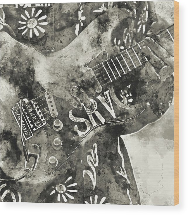 Stevie Ray Vaughan Wood Print featuring the painting Stevie Ray Vaughan - 03 by Andrea Mazzocchetti