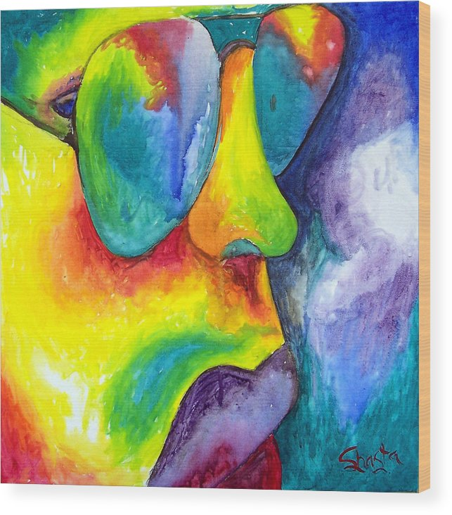 Vivid Contemporary Abstract Portrait Wood Print featuring the painting The Rock Star by Shasta Miller