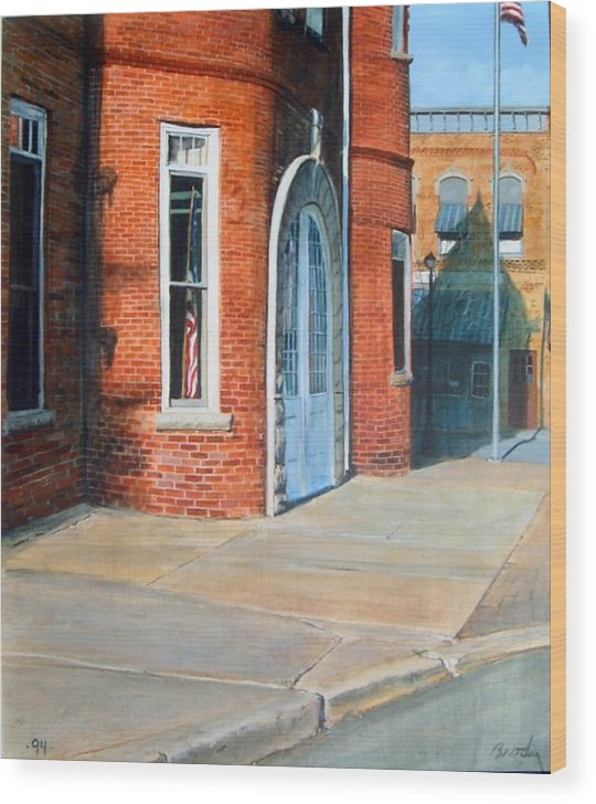 Realistic Wood Print featuring the painting Town Hall by William Brody