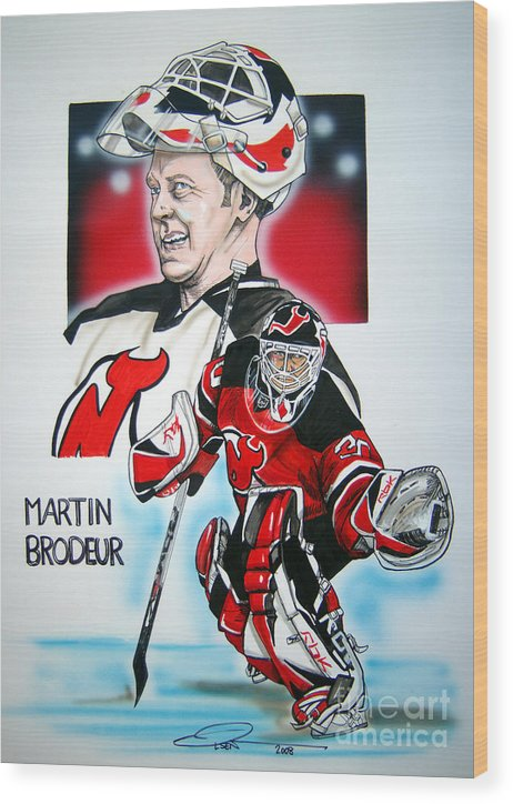 Nhl Wood Print featuring the painting Martin Brodeur by Dave Olsen
