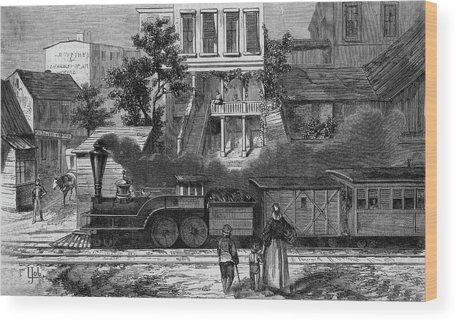 Train Wood Print featuring the drawing A Train Of The Camden & Amboy by Mary Evans Picture Library