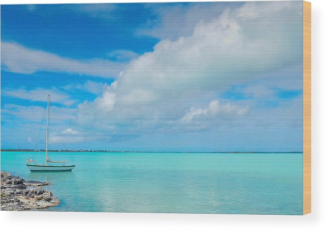 Sailboat Wood Print featuring the photograph Boat In Calm Blue by Gavin Baker