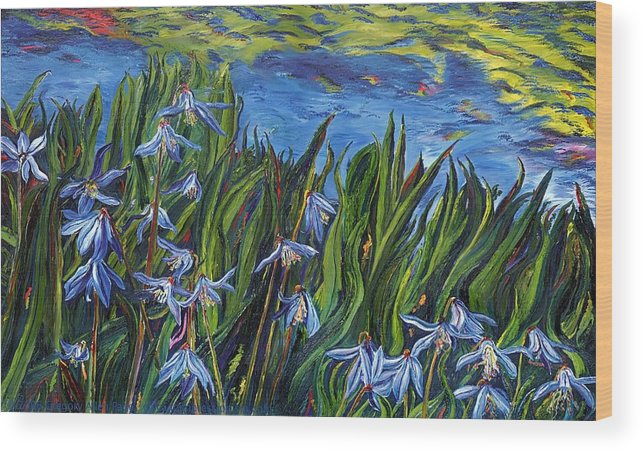 Flowers Wood Print featuring the painting Cilia Flowers by Gregory Allen Page