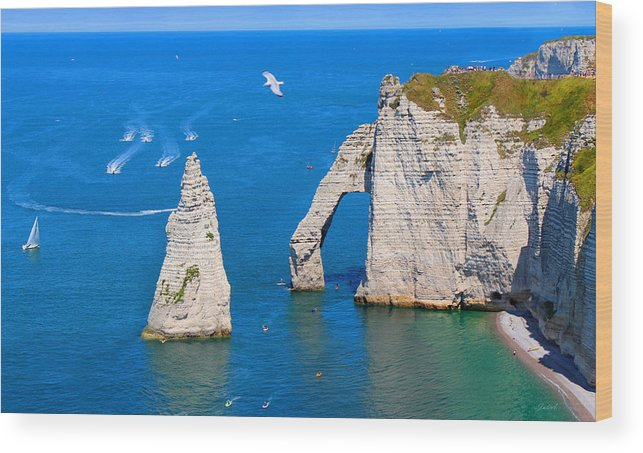 Cliffs Wood Print featuring the photograph Cliffs Of Etretat France by Julia Fine Art And Photography