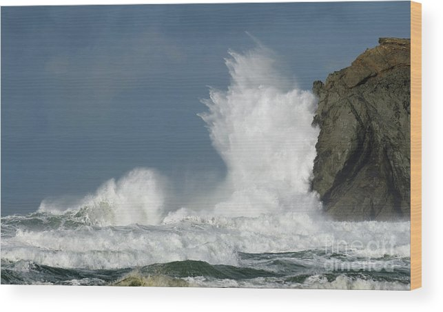 Rocks Wood Print featuring the photograph Crashing Surf by Bob Christopher