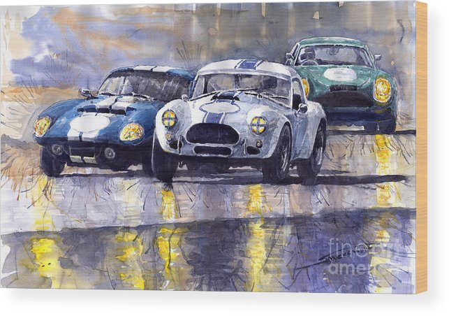 Ac Cobra Wood Print featuring the painting Duel Ac Cobra And Shelby Daytona Coupe 1965 by Yuriy Shevchuk