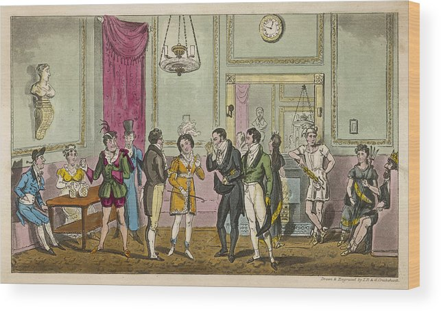 Green Wood Print featuring the drawing Fashionable Visitors To The Green Room by Mary Evans Picture Library