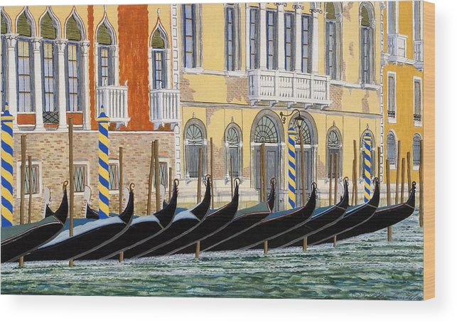 Landscape Wood Print featuring the painting Gondolas On The Grand Canal by David Hinchen