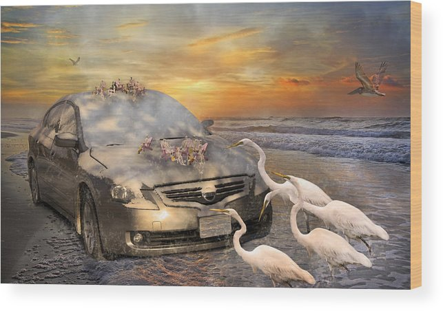 Nissan Wood Print featuring the mixed media Grateful Friends Curious Egrets by Betsy Knapp