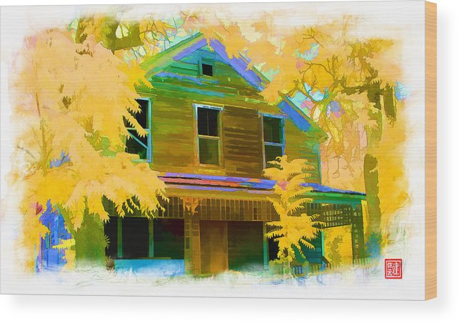 Chinese Camp Wood Print featuring the digital art House On Main Street by Ken Evans
