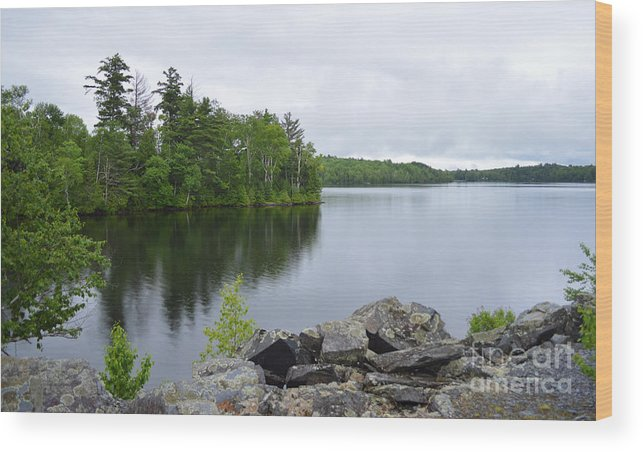 Maine Wood Print featuring the photograph Lake Hebron by Meandering Photography