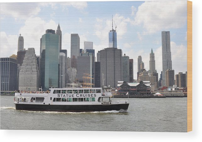 Manhattan Skyline Wood Print featuring the photograph Manhattan Skyline With Boat by Diane Lent