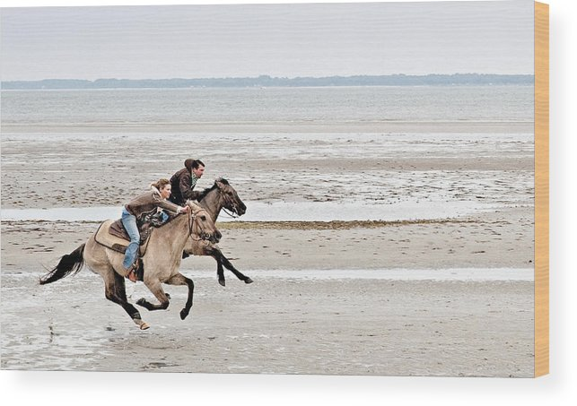 Horse Wood Print featuring the photograph Marsh Tacky Race by Bill LITTELL