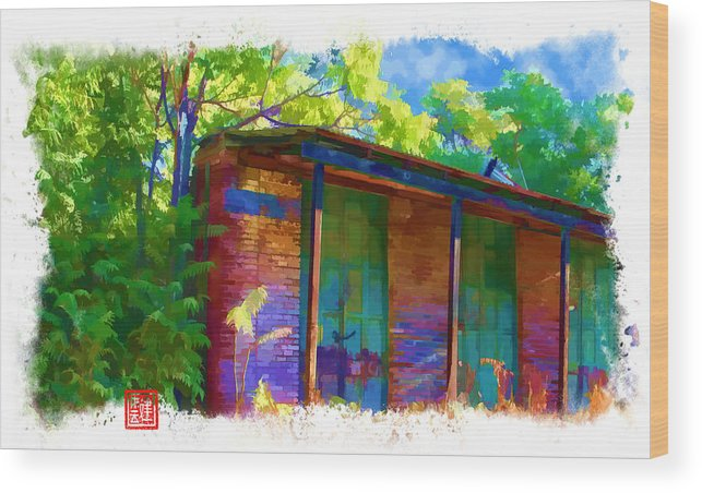 Chinese Camp Wood Print featuring the digital art Old Iron Door Store Fronts by Ken Evans