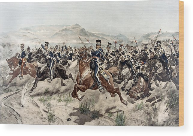 Crimean War Wood Print featuring the painting The Charge Of The Light Brigade, 1895 by Richard Caton Woodville