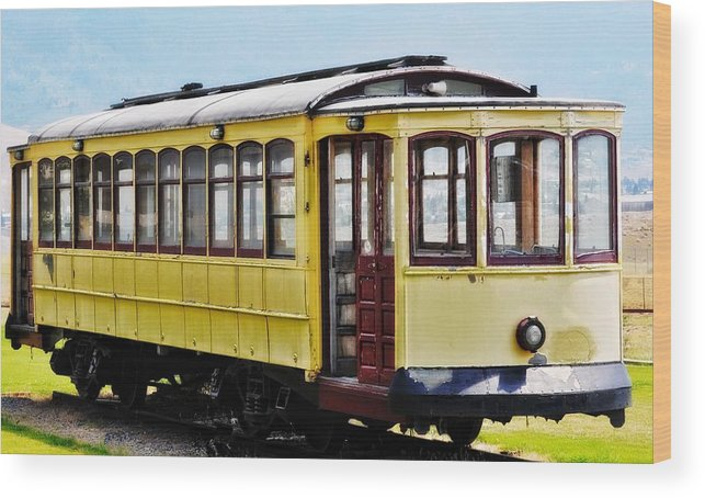 Butte Wood Print featuring the photograph The Yellow Trolley Car by Image Takers Photography LLC - Laura Morgan