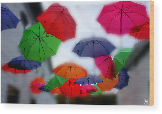 Umbrella Wood Print featuring the photograph Umbrellas In The Mist by Wayne King